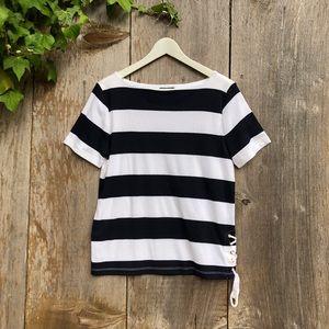 CHAPS black white nautical stripe cotton T-shirt
